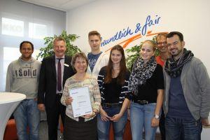 Die Übergabe mit Vertretern der Sparda-Bank, unserer Schulleitung, des NCG-Kultur-Teams und des Fördervereins.